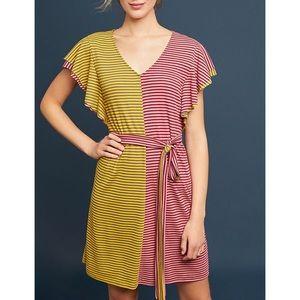 Ella Mara Striped Color Block Flutter Sleeve Dress